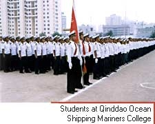 Students at Qinddao Ocean Shipping Mariners College