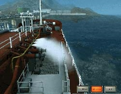 Starboard CCTV camera on LPG tanker showing surveillance of waterspray