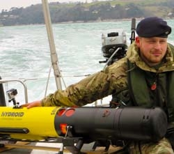 Royal Navy MAST member with Remus 100