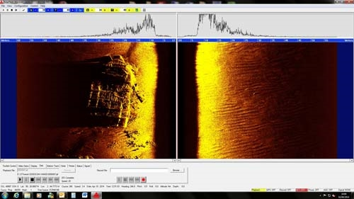Side scan sonar image of LST-507 taken from the REMUS100