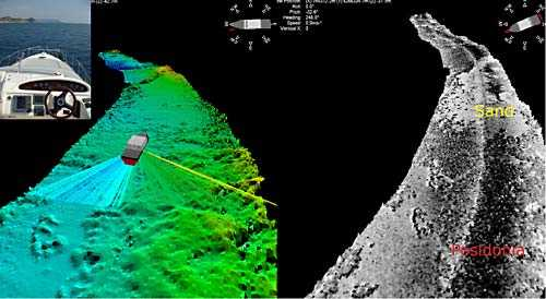 THE THREE TECHNOLOGIES, WIDE SWATH BATHYMETRY, SIDE SCAN SONAR AND SINGLE BEAM ECHOSOUNDER WORKING SIMULTANEOUSLY. USING A GEOACOUSTICS GEOSWATH PLUS MAKES THE USE OF A SEPARATE SIDE SCAN SONAR OBSOLETE AS IT ACQUIRES GEO-REFERENCED SIDE SCAN DATA.