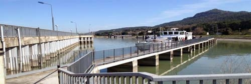Pier located on the Rhone River in France