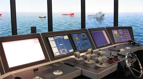 Navigation bridge of  Offshore Vessel Simulator