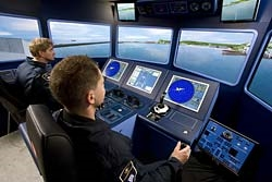 The simulator is equipped with a cockpit bridge
