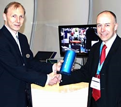 Martin Day, Subsea 7's Global Survey Manager, accepted the special MRU during a presentation on the Kongsberg Maritime stand at Oceanology International.