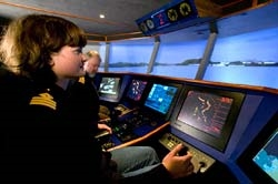 Typical cocpit style high-speed vessel simulator bridge