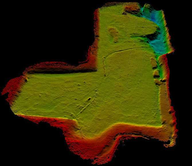 Bathymetry of the lake near Reading. The majority of the lake has a flat bottom with 2m depth.