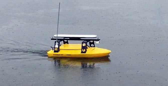 The USV in action on the lake near Reading.