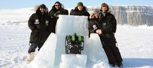 Seabotics crew and the M3 sonar mounted on the ROV