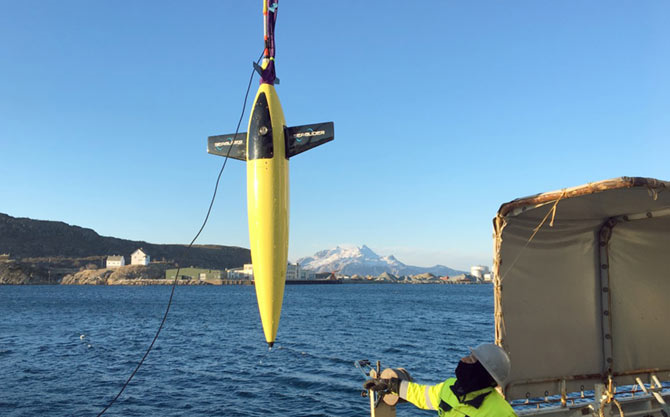 Seagliders are a range of autonomous underwater vehicles (AUV) or underwater gliders developed for continuous, long term measurement of oceanographic parameters. Photo by courtesy of Cyprus Subsea Consulting and Services (CSCS).