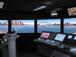 Part of ships bridge simulator with multiflex panels